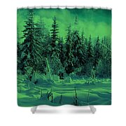 Winter Forest Dream At Dusk Shower Curtain
