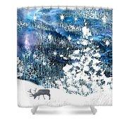 Winter Forest Scene Shower Curtain