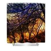 Winter Forest Sunset Oil Style Shower Curtain