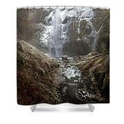 Winter Freeze At Multnomah Falls Shower Curtain