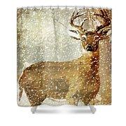 Winter Game Deer Shower Curtain
