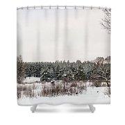 Winter Glade Under Snow. Shower Curtain