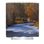 Winter Gold On The Yakima River Shower Curtain