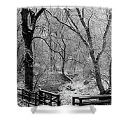 Winter, Ham Burn, Whitley Mill Shower Curtain