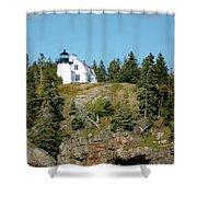 Winter Harbor Lighthouse Shower Curtain