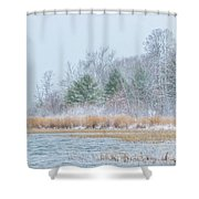 Winter Hoarfrost On The River Shower Curtain