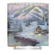 Winter Hut Villa Shower Curtain
