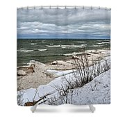 Winter Ice On Lake Michigan Ll Shower Curtain