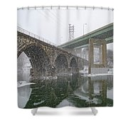 Winter In East Falls Along The Schuylkill River Shower Curtain