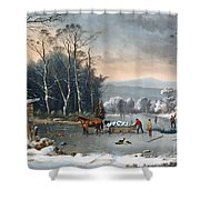 Winter In The Country Shower Curtain by Currier and Ives
