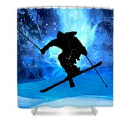 Winter Landscape And Freestyle Skier Shower Curtain