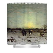 Winter Landscape At Sunset Shower Curtain by Ludwig Munthe