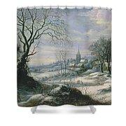 Winter Landscape Shower Curtain by Daniel van Heil