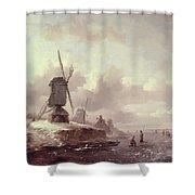 Winter Landscape Shower Curtain by Frederick Marianus Kruseman