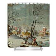 Winter Landscape Of A Village Shower Curtain