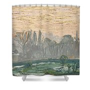 Winter Landscape With Evening Sky Shower Curtain