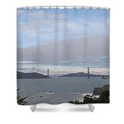 Winter Landscape With Golden Gate Bridge Shower Curtain