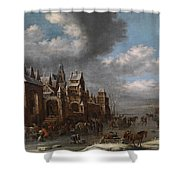 Winter Landscape With Horses Sleighs And Skaters In Front Of A Fortified Town, Shower Curtain