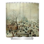 Winter Landscape With Ice Skaters1608 Shower Curtain