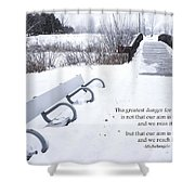 winter landscape with Inspirational Text Shower Curtain