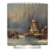 Winter Landscape With Mills Zaardam Shower Curtain