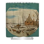 Winter Landscape With Skaters And A Farm House Shower Curtain