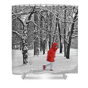 Winter Landscape With Walking Gir In Red. Blac White Concept Gra Shower Curtain