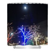 Winter Lights Full Moon Shower Curtain