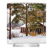 Winter Log Cabin 3 - Paint Shower Curtain
