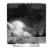 Winter Magic In Black And White Shower Curtain