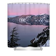 Winter Mirror At Crater Lake Shower Curtain