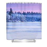 Winter Mist Baxter Lake New Hampshire Shower Curtain by Jeff Sinon