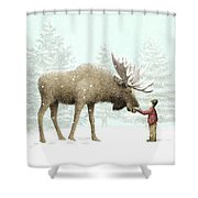 Winter Moose Shower Curtain by Eric Fan