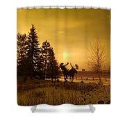 Winter Moose Statue Shower Curtain