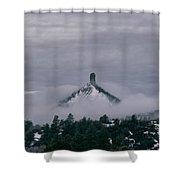 Winter Morning Fog Envelops Chimney Rock Shower Curtain by Jason Coward