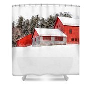 Winter On The Farm Enfield Shower Curtain