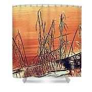 Winter Orange Shower Curtain