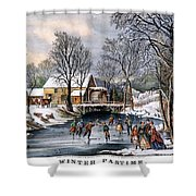 Winter Pastime, 1870 Shower Curtain by Granger