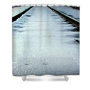 Winter Railroad Tracks Shower Curtain