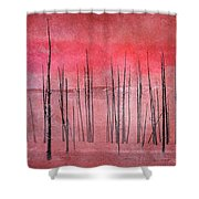 Winter Red  7913red Shower Curtain