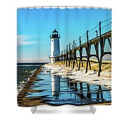 Winter Reflection At Manistee Light Shower Curtain