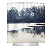 Winter Reflection On The Yakima River Shower Curtain