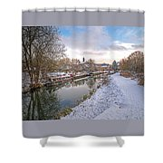 Winter Reflections On The River Shower Curtain