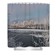 Winter River Light Shower Curtain