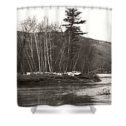 Winter River Number One Shower Curtain
