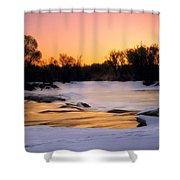 Winter River Sunrise Shower Curtain