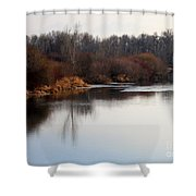 Winter Riverbank Shower Curtain