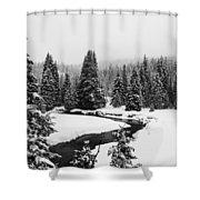 Winter Riverscape Shower Curtain