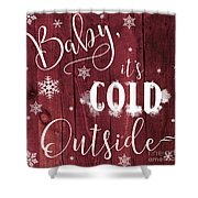 Winter Rustic Wood Sign Shower Curtain