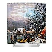 Winter Scene: Evening 1854 Shower Curtain